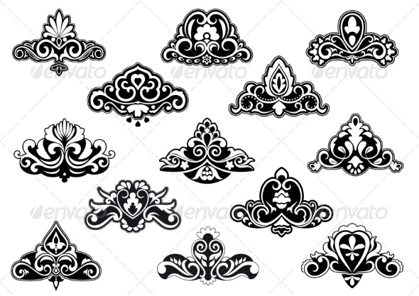 Decorative Floral Design Elements and Motifs - Decorative Symbols Decorative