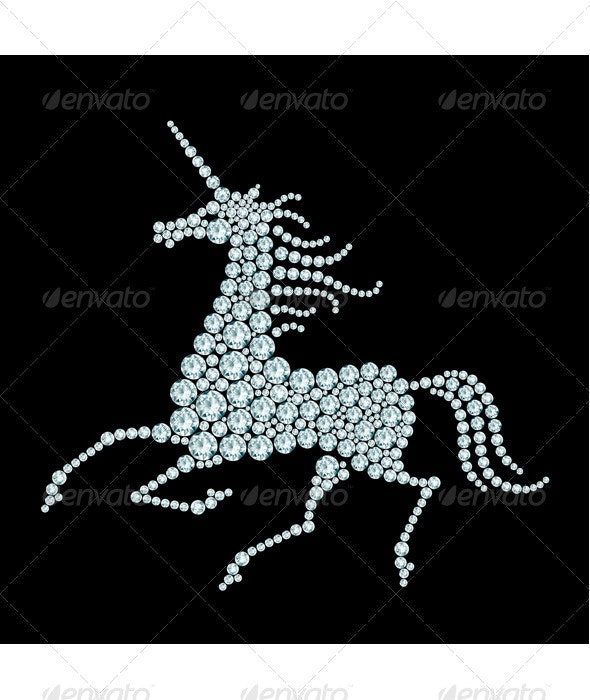 Running Unicorn Diamond Composition  - Animals Characters