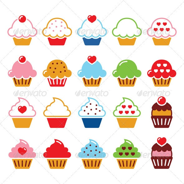 Cupcake Icons - Food Objects