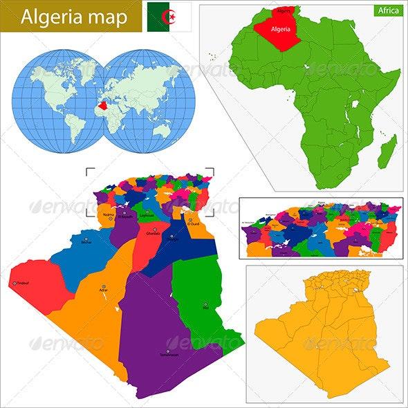Algeria Map - Travel Conceptual
