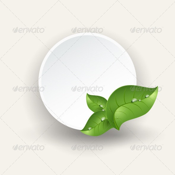 Round Banner, Green Leaves, Drops of Dew - Vectors