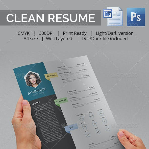 Clean Resume With MS Word