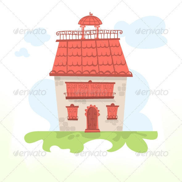 Fairy House with a Tiled Roof and a Cockerel - Vectors