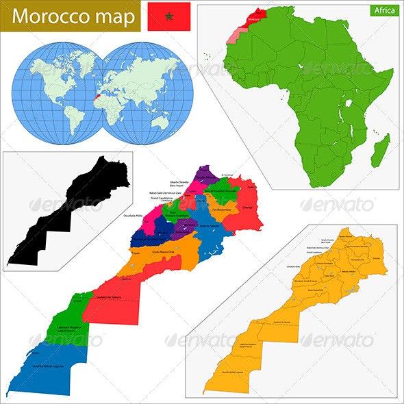 Morocco Map - Travel Conceptual