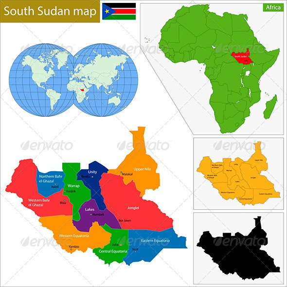 South Sudan Map - Travel Conceptual