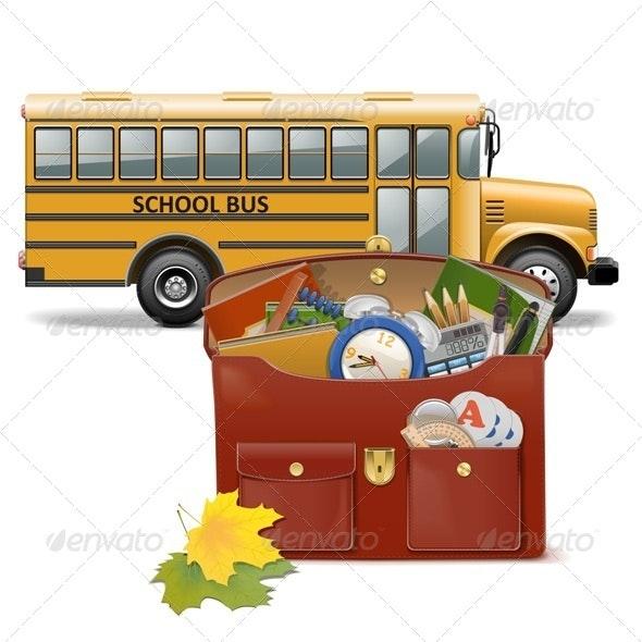 Schoolbag and Bus - Seasons/Holidays Conceptual