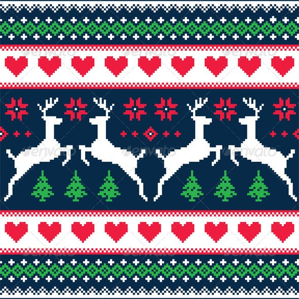 Winter Christmas Seamless Pixelated Pattern
