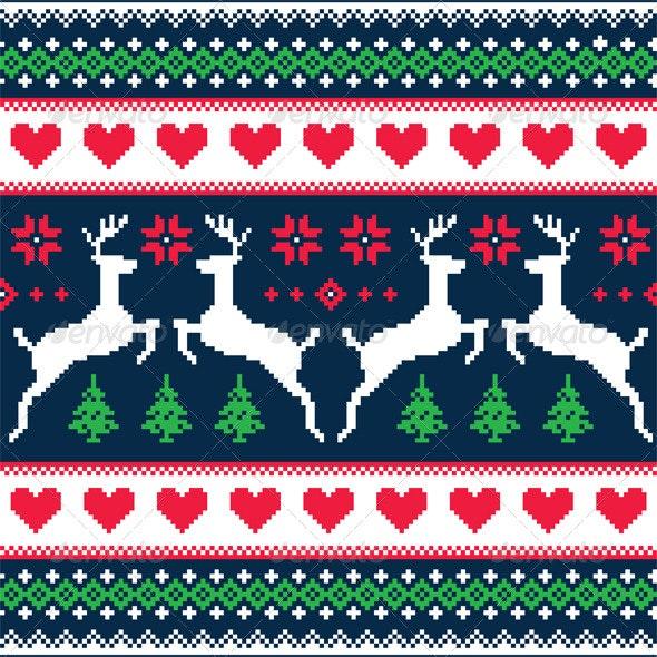 Winter Christmas Seamless Pixelated Pattern  - Patterns Decorative