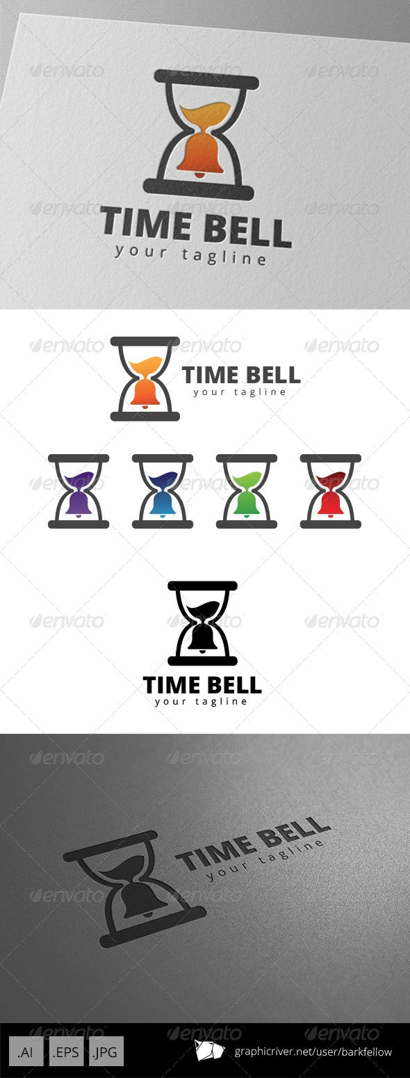 Hourglass Time Bell Alarm Logo