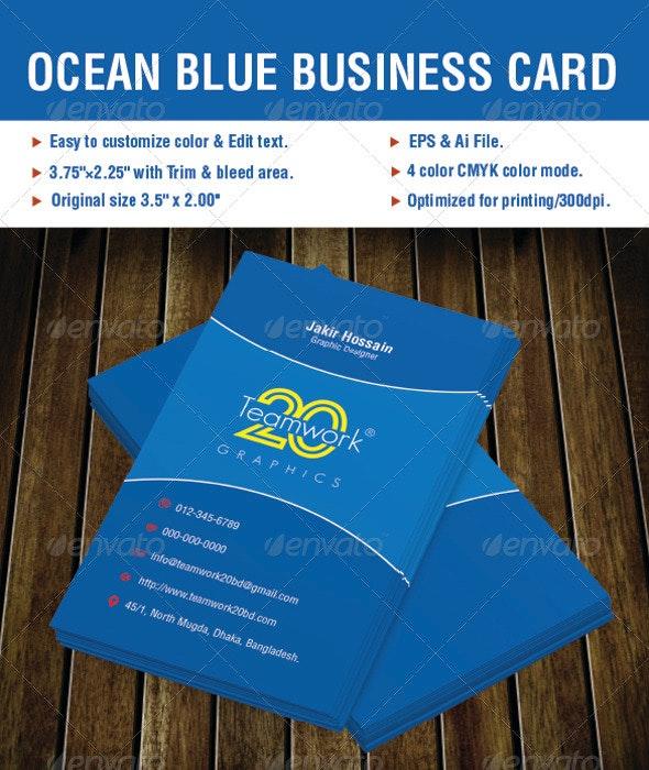 Ocean Blue Business Card - Corporate Business Cards