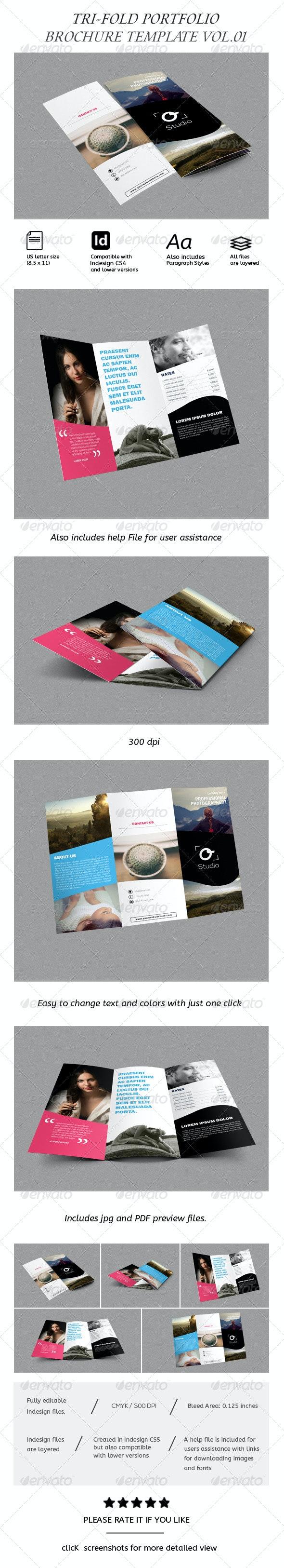 Modern Photography Portfolio Tri-Fold Brochure/ Catalog - Brochures Print Templates