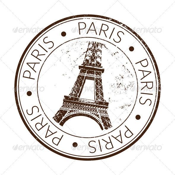 Paris Stamp, Seal - Travel Conceptual