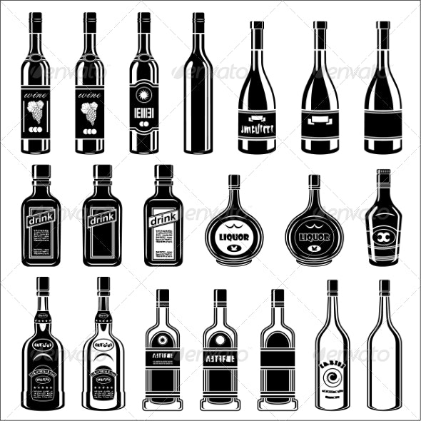 Set of Alcohol Bottles - Retail Commercial / Shopping