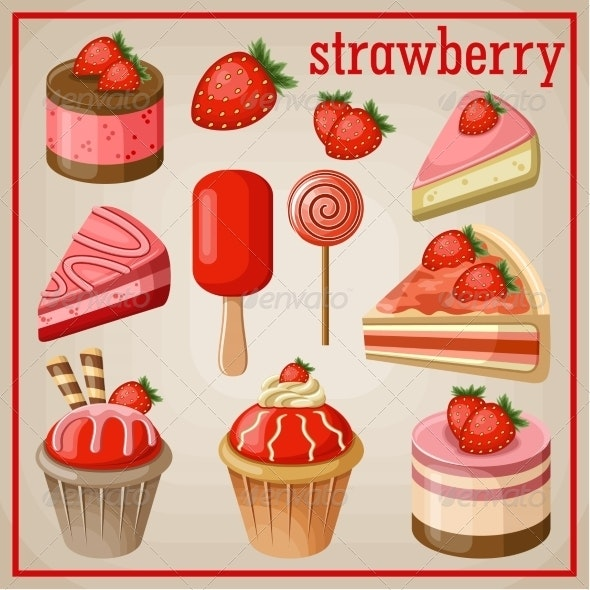 Set of Sweets with Strawberry - Food Objects