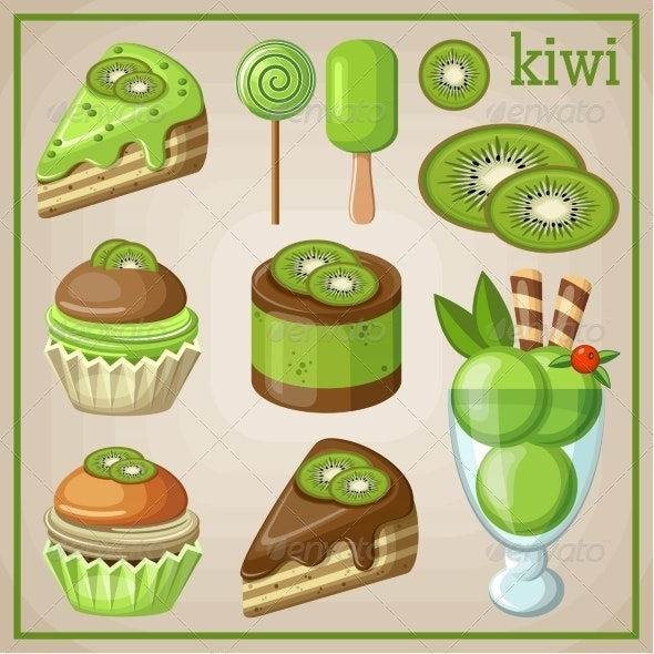 Set of Sweets with Kiwi - Food Objects