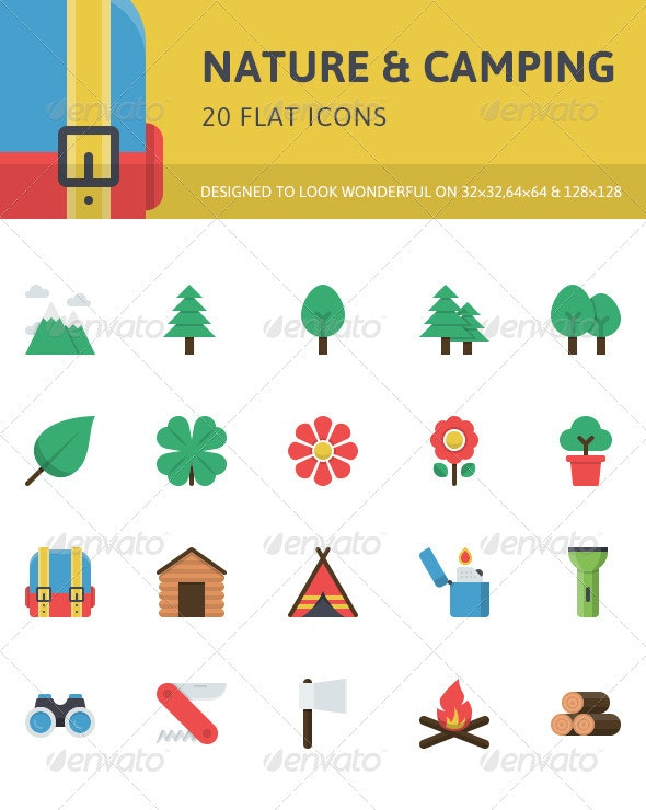Nature & Camping Flat Icons - Objects Icons