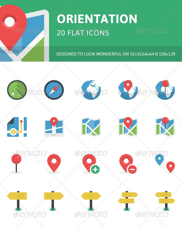 Orientation Flat Icons - Objects Icons