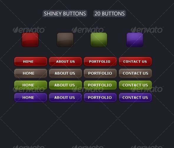 Shiney Buttons Set One - Buttons Web Elements