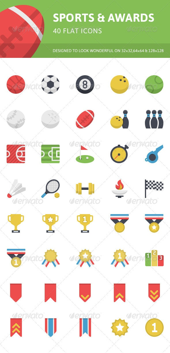 Sports & Awards Flat Icons - Objects Icons