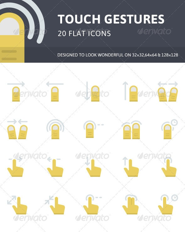 Touch Gestures Flat Icons