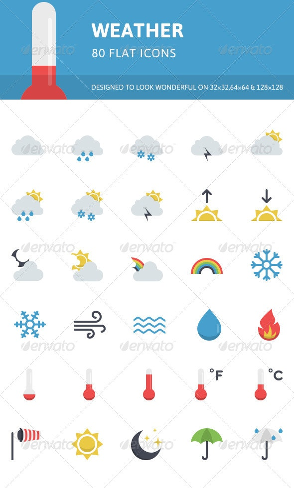 Weather Flat Icons - Seasonal Icons