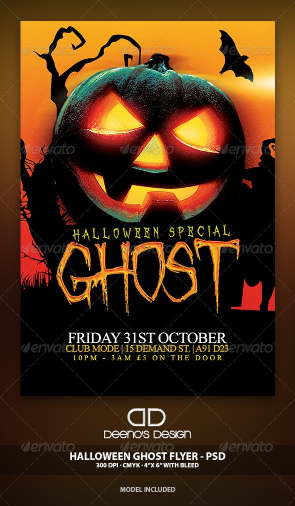 Halloween Ghost Flyer Template PSD - Holidays Events