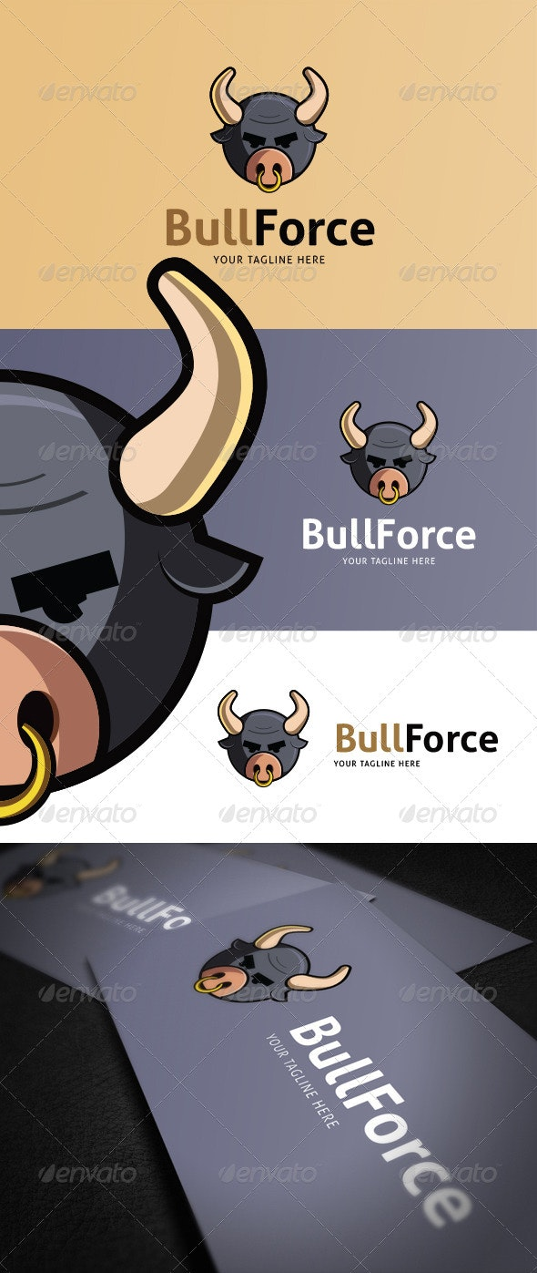 Bull Force Logo Template - Vector Abstract