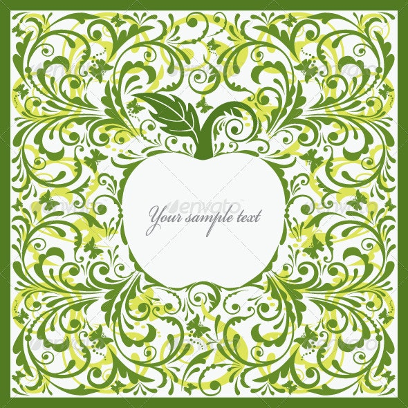 Beautiful Card with Apple. - Patterns Decorative