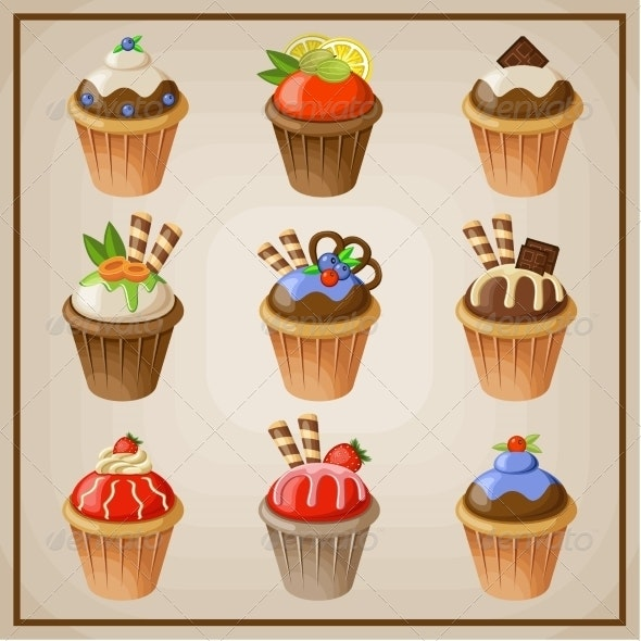 Set of Cupcakes - Food Objects