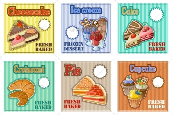 Set of Baking Menu Cards - Food Objects