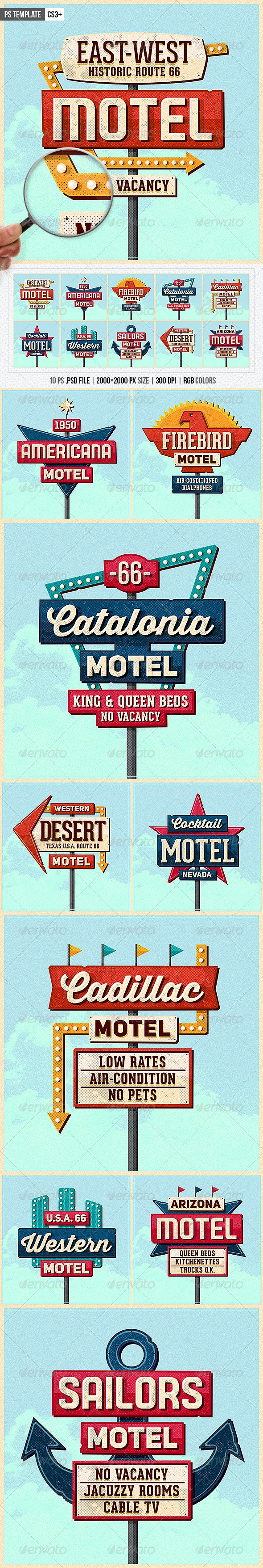 Vintage Motel Sign Pack - Miscellaneous Graphics