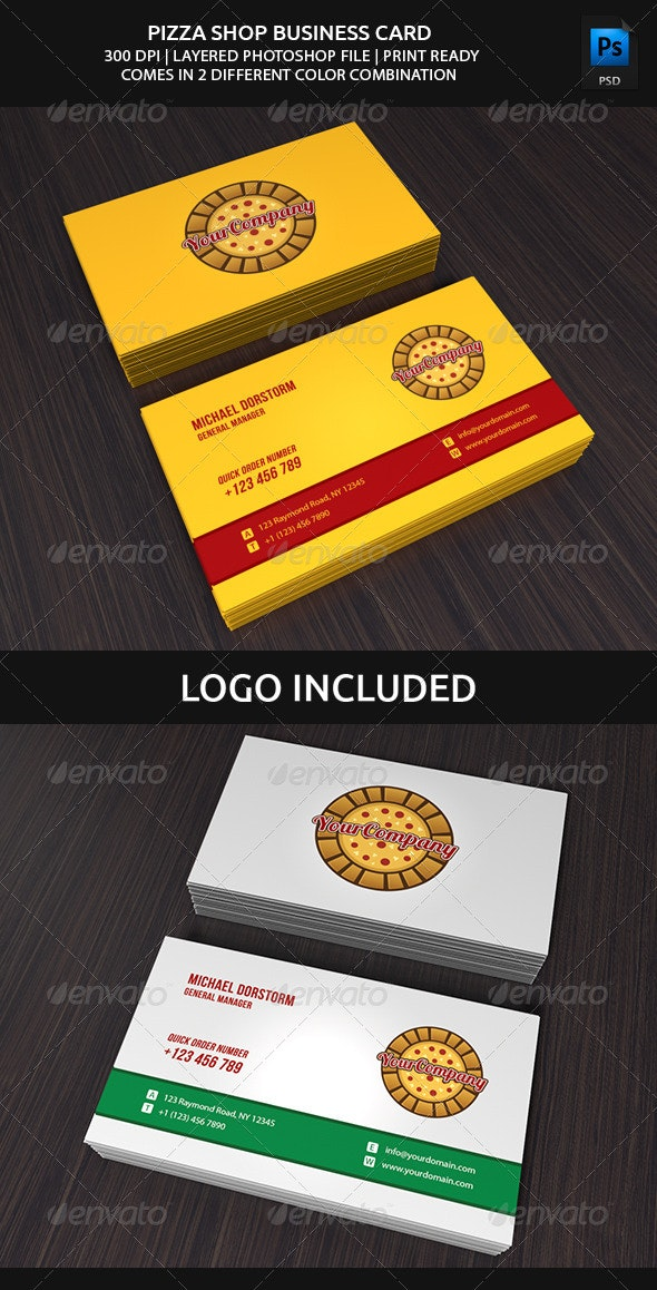 Pizza Shop Business Card - Industry Specific Business Cards