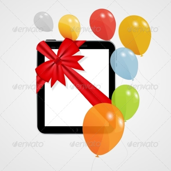 Digital Tablet Gift with Balloons - Valentines Seasons/Holidays