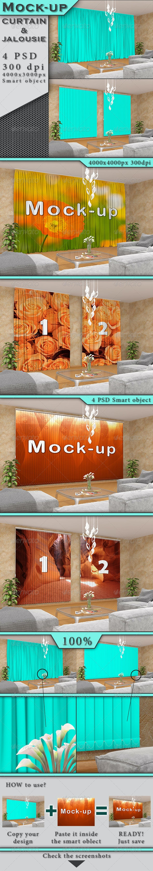 Curtain and Jalousie Mock-up - Miscellaneous Product Mock-Ups