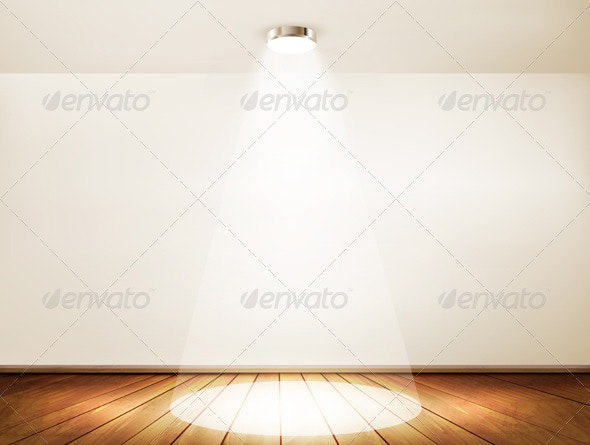 Wall with a spotlight and wooden floor - Backgrounds Business