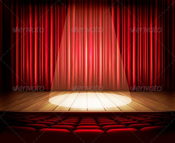 A Theater Stage with a Red Curtain Seats - Retro Technology