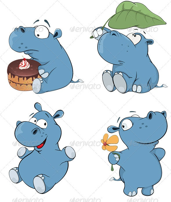 Set of Hippopotamuses Cartoon  - Animals Characters