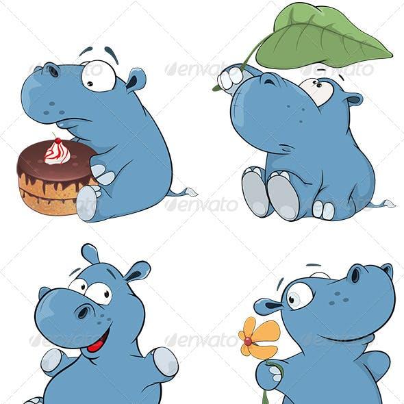 Set of Hippopotamuses Cartoon