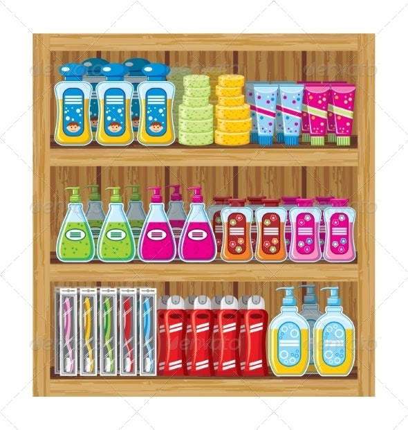 Shelves with Household Chemicals. - Retail Commercial / Shopping