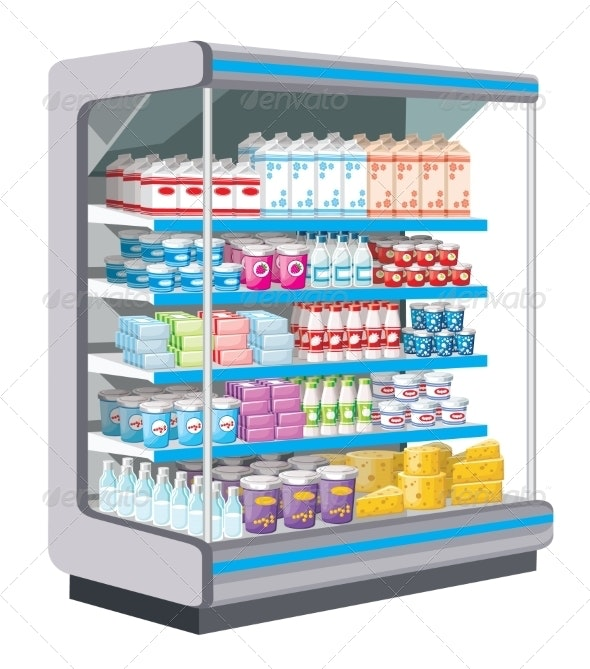 Supermarket. Dairy Products. - Food Objects