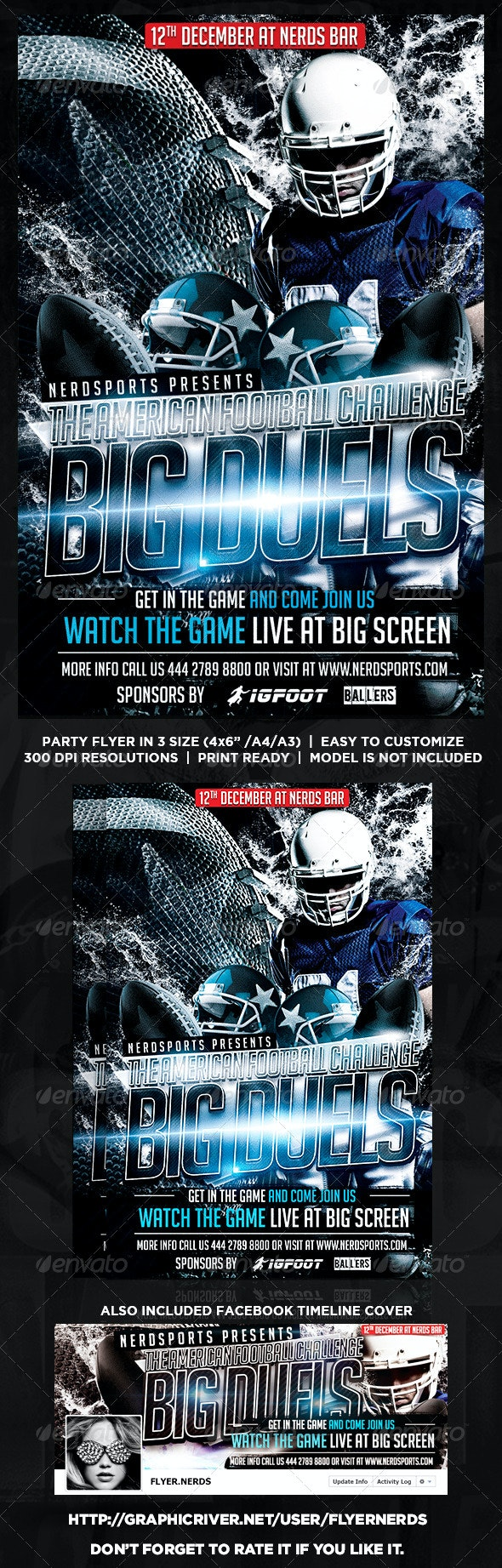 The American Football Challenge Flyer - Sports Events