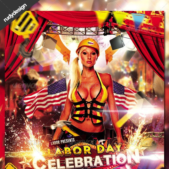 Labor Day Memorial Day Party Flyer Design