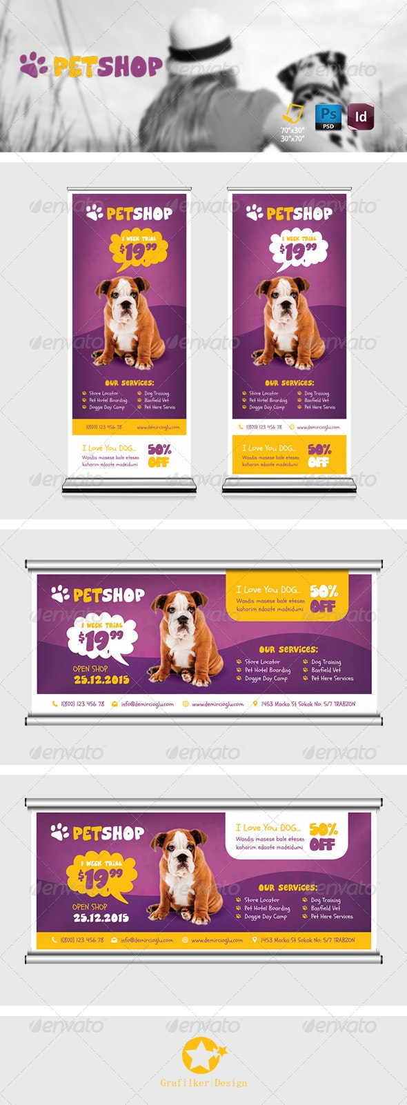 Pet Shop Billboard Roll-Up Template - Signage Print Templates
