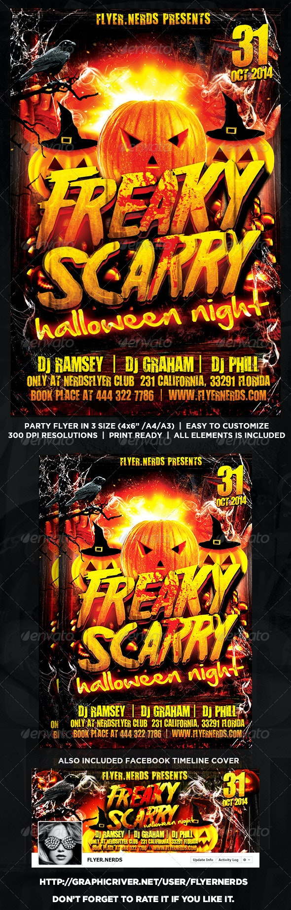 Freaky Scarry Halloween Night Party Flyer - Clubs & Parties Events