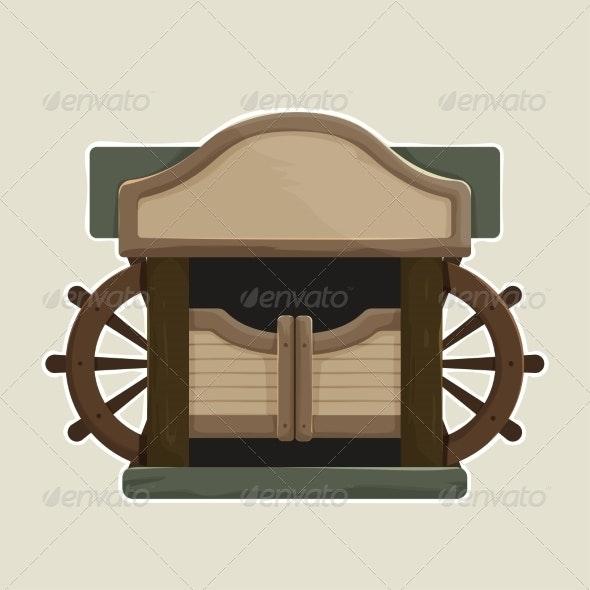 Cartoon styled Old Western Swinging Saloon Doors - Buildings Objects
