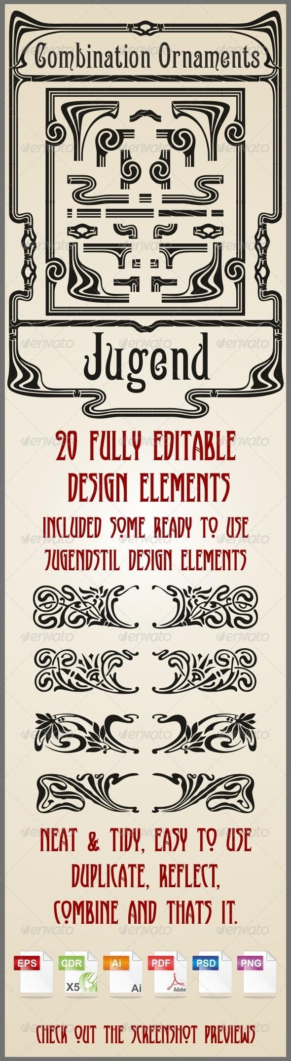 Combination Ornaments Jugend - Borders Decorative