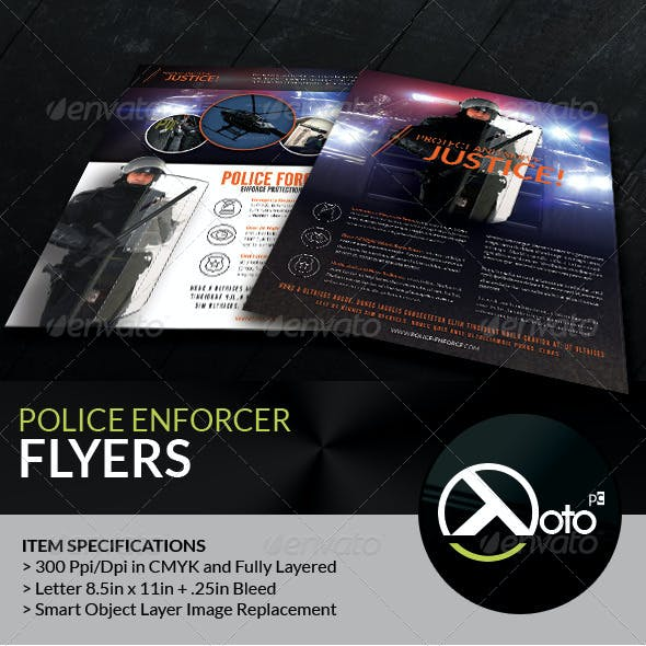 Police Enforcer Protect and Serve Flyers