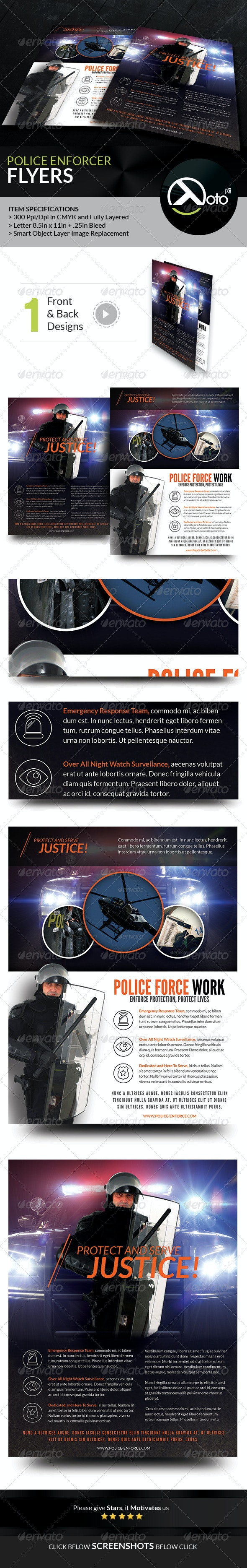 Police Enforcer Protect and Serve Flyers - Flyers Print Templates