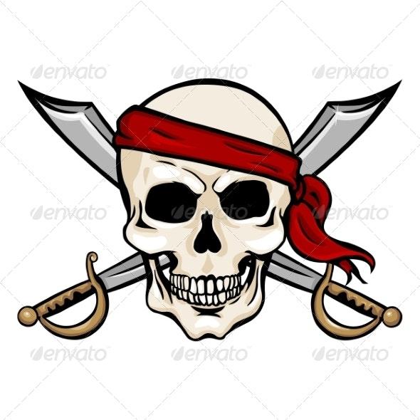 Vector Cartoon Pirate Skull in Red Headband - Halloween Seasons/Holidays