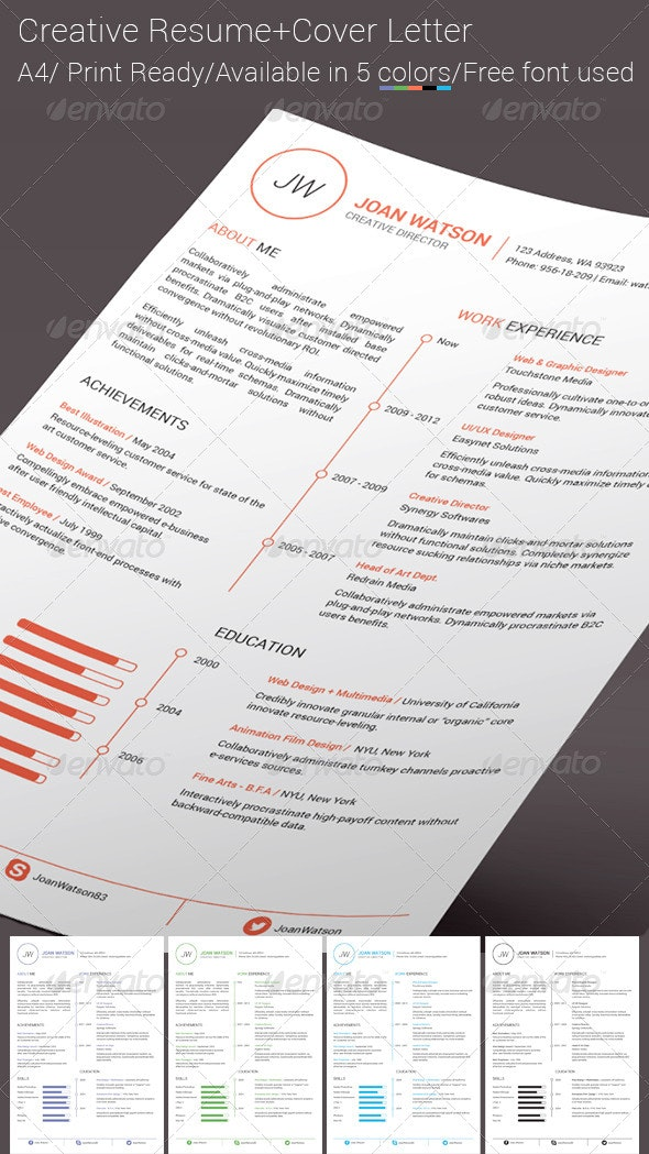 Creative Resume with Cover Letter - Resumes Stationery